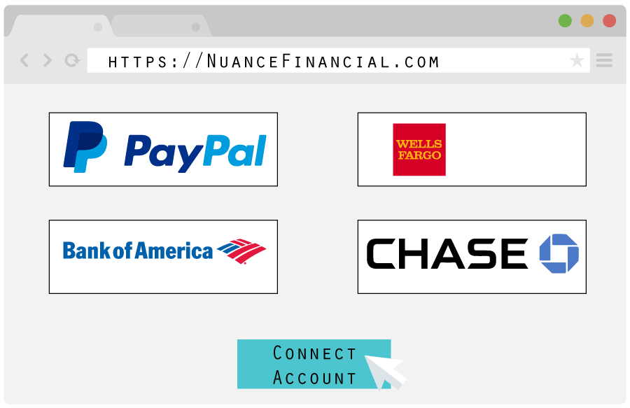 Web Browser Vector With Bank Account Connect Logos Bigger
